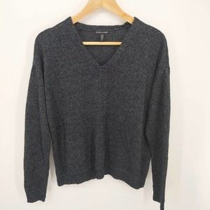 Eileen Fisher Navy Knit Linen V-Neck Sweater Small